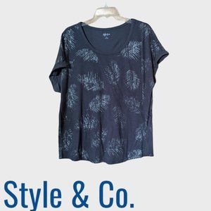 Style&Co Grey Palm Print Short Sleeve Top Size 2X